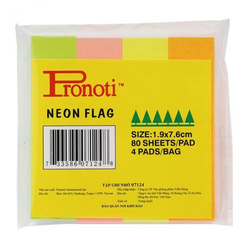 Giấy note 4 màu Pronoti Neon Flag 07124 1,9 x 7,6cm